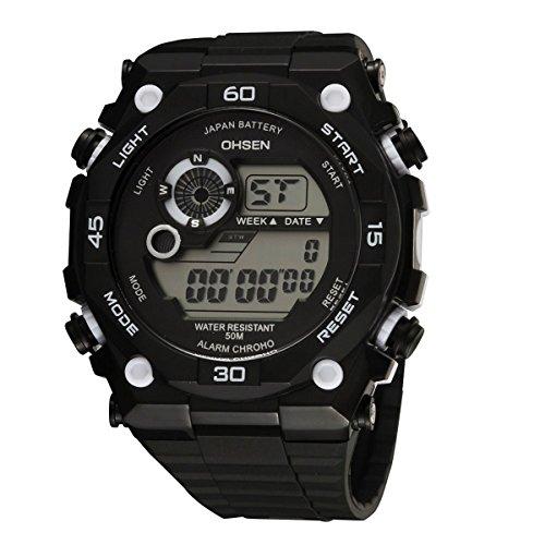 UNIQUEBELLA Armbanduhr OHSEN 2810 Multifunktional LED Digitaluhr Klassisch Sportuhr Stoppuhr Alarmuhr DatumUhr Datumsanzeige Silikon Wasserdicht Weiss