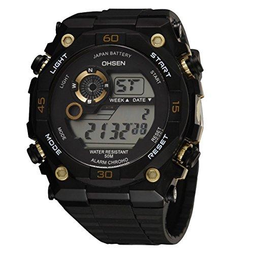 UNIQUEBELLA Armbanduhr OHSEN 2810 Multifunktional LED Digitaluhr Klassisch Sportuhr Stoppuhr Alarmuhr DatumUhr Datumsanzeige Silikon Wasserdicht Gold