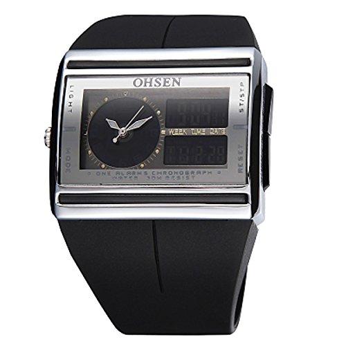 UNIQUEBELLA Armbanduhr OHSEN AD0518 Multifunktional LED Digitaluhr Analog Digital Klassisch Armbanduhr Stoppuhr Alarmuhr DatumUhr Datumsanzeige Silikon Wasserdicht Schwarz