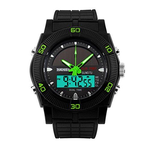UNIQUEBELLA Mode Armbanduhr Multifunktional LED Solar Digitaluhr Bunt Sportuhr Kinder Herren Jungen Silikon Wasserdicht Gruen
