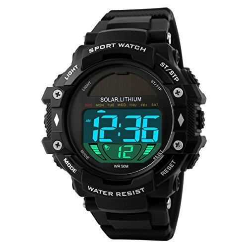 UNIQUEBELLA Mode Armbanduhr 1129 Multifunktional LED Solar Digitaluhr Sportuhr Kinder Herren Jungen Silikon Wasserdicht Schwarz