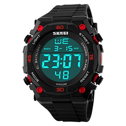 UNIQUEBELLA Armbanduhr 1130 Multifunktional LED Digitaluhr Klassisch Sportuhr Stoppuhr Datumuhr Alarmuhr Nachtlicht Silikon Wasserdicht Rot