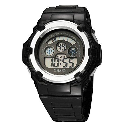 UNIQUEBELLA Armbanduhr OHSEN 1105 Multifunktional LED Digitaluhr Klassisch Sportuhr Alarmuhr DatumUhr Stoppuhr Gummi Wasserdicht Schwarz