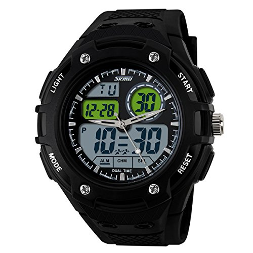 UNIQUEBELLA Armbanduhr Multifunktional LED Digitaluhr Sportuhr Herren Jungen Silikon Wasserdicht Schwarz Weiss