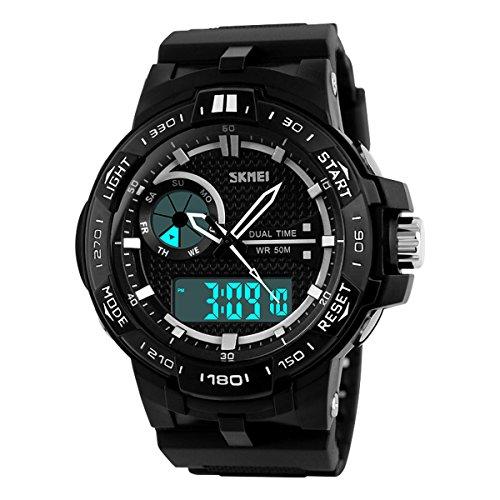 UNIQUEBELLA Armbanduhr 1070 Multifunktional LED Digitaluhr Sportuhr Kinder Herren Jungen Silikon Wasserdicht Schwarz Weiss