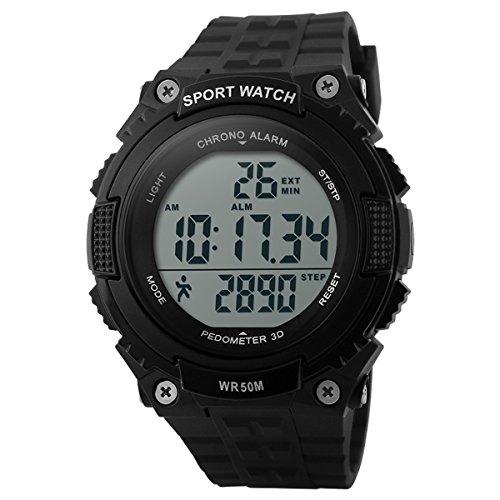 UNIQUEBELLA Armbanduhr 1112 Multifunktional LED Digitaluhr Sportuhr Pedometer Gesundheit Silikon Wasserdicht Schwarz