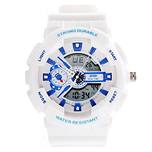 UNIQUEBELLA Mode Armbanduhr Multifunktional LED Digitaluhr Bunt Sportuhr Kinder Herren Damen Jungen Silikon Wasserdicht Weiss