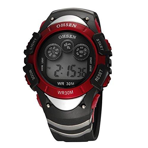 UNIQUEBELLA Armbanduhr OHSEN 0815 Multifunktional LED Digitaluhr Klassisch Sportuhr Stoppuhr DatumUhr Gummi Wasserdicht Rot