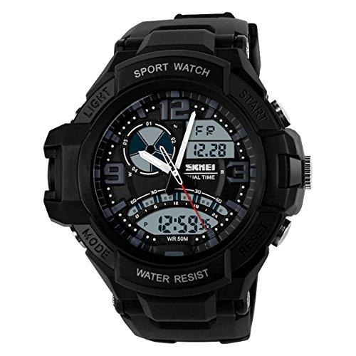 UNIQUEBELLA Armbanduhr Multifunktional LED Digitaluhr Sportuhr Herren Jungen Silikon Wasserdicht Schwarz
