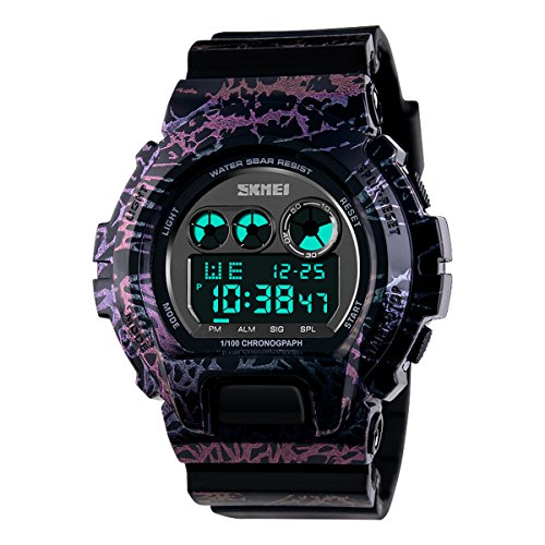 UNIQUEBELLA Mode Armbanduhr 1150 Multifunktional LED Digitaluhr Sportuhr Freizeit Junge Bunt Silikon Wasserdicht Tarnfarbe