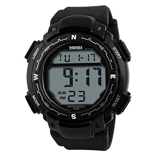UNIQUEBELLA Armbanduhr 1067 Multifunktional LED Digitaluhr Sportuhr Kinder Herren Jungen Silikon Wasserdicht Schwarz