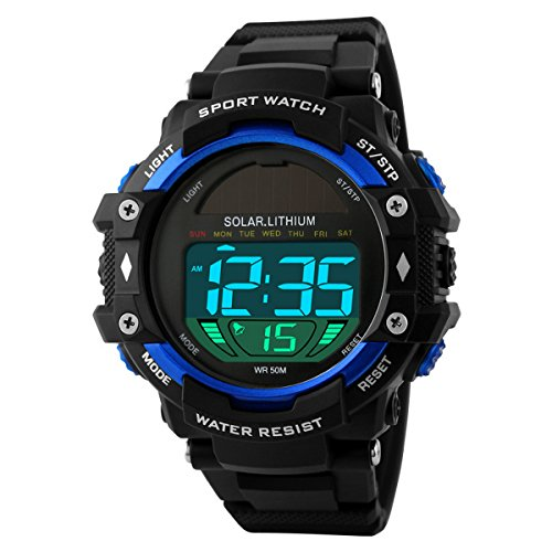 UNIQUEBELLA Mode Armbanduhr 1129 Multifunktional LED Solar Digitaluhr Sportuhr Kinder Herren Jungen Silikon Wasserdicht Blau