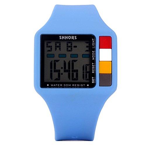UNIQUEBELLA Armbanduhr SH 601 Multifunktional LED Digitaluhr Klassisch Sportuhr Dual Zeitanzeige Silikon Wasserdicht Blau