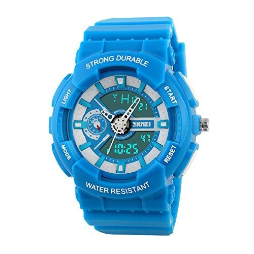 UNIQUEBELLA Armbanduhr Multifunktional Bunt Kinder Jungen Maedchen Studenten Elektronische LED Digitaluhr Sportuhr Blau