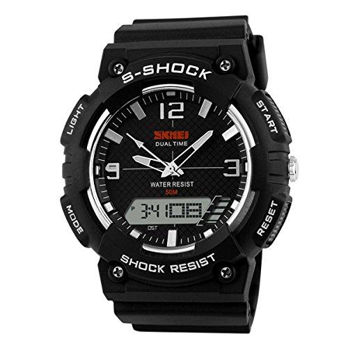 UNIQUEBELLA Armbanduhr Multifunktional Kinder Jungen Studenten Freizeit LED Digitaluhr Sportuhr Schwarz Wiess