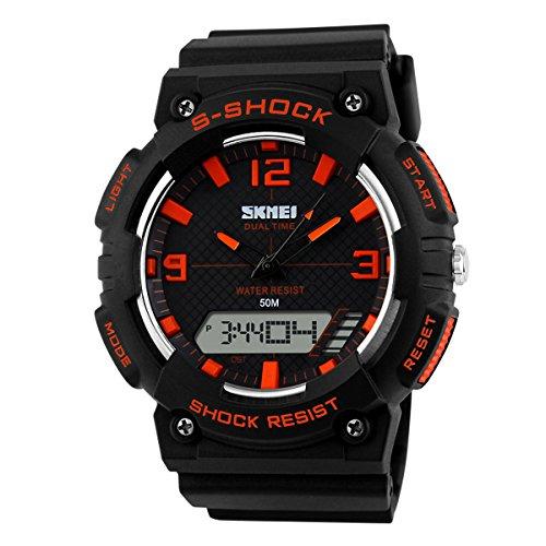 UNIQUEBELLA Armbanduhr Multifunktional Kinder Jungen Studenten Freizeit LED Digitaluhr Sportuhr Schwarz Orange