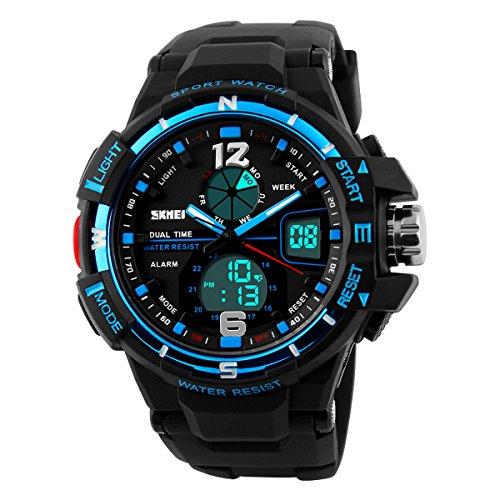 UNIQUEBELLA Armbanduhr 1148 Multifunktional LED Digitaluhr Klassisch Sportuhr Grosses Zifferblatt Silikon Wasserdicht Blau