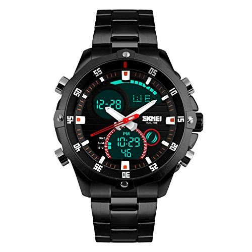 UNIQUEBELLA Armbanduhr 1146 Multifunktional LED Digitaluhr Klassisch Sportuhr Grosses Zifferblatt Edestahl Wasserdicht Schwarz