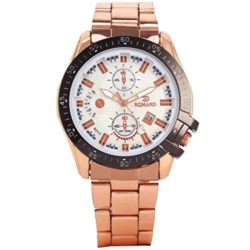 UNIQUEBELLA UHerren Edelstahl Armbanduhr uhr Quarzuhren Sportuhr Chronograph Uhren Watch Rotgold Schwarz