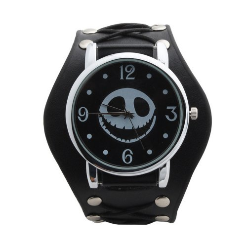 UNIQUEBELLA Punk Gothic Element Armbanduhr Nieten Schaedel Metall Kette Lederarmband Herren Geschenk Watch Gift 8