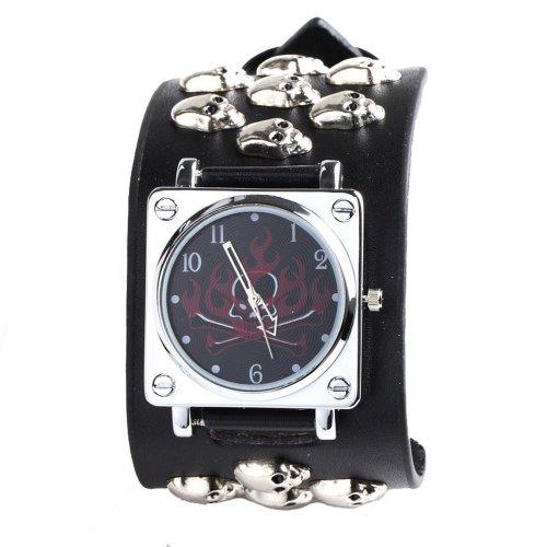 UNIQUEBELLA Punk Gothic Element Armbanduhr Nieten Schaedel Metall Kette Lederarmband Herren Geschenk Watch Gift 3