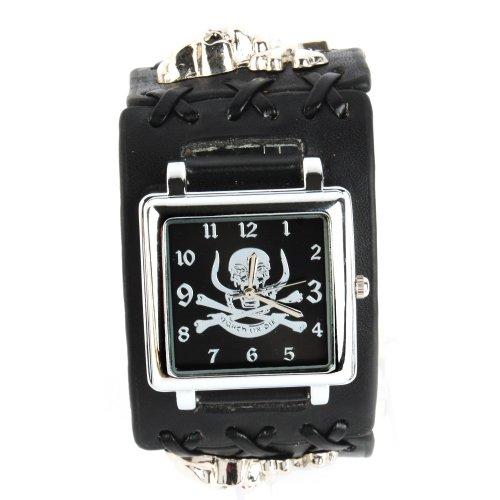 UNIQUEBELLA Punk Gothic Element Armbanduhr Nieten Schaedel Metall Kette Lederarmband Herren Geschenk Watch Gift 19