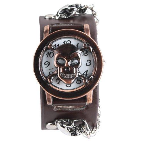 UNIQUEBELLA Punk Gothic Element Armbanduhr Nieten Schaedel Metall Kette Lederarmband Herren Geschenk Watch Gift 14