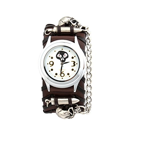 UNIQUEBELLA Punk Gothic Element Armbanduhr Nieten Schaedel Metall Kette Lederarmband Herren Geschenk Watch Gift 13