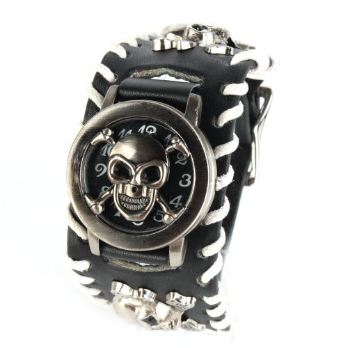 UNIQUEBELLA Punk Gothic Element Armbanduhr Nieten Schaedel Metall Kette Lederarmband Herren Damen Uhr Totenkopf