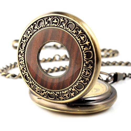 UNIQUEBELLA Retro Handaufzug mechanische Taschenuhr Skelett Uhr Antike Taschenuhr bronze 38