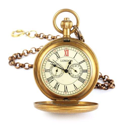 UNIQUEBELLA Retro Handaufzug mechanische Taschenuhr Skelett Uhr Antike Taschenuhr bronze 29
