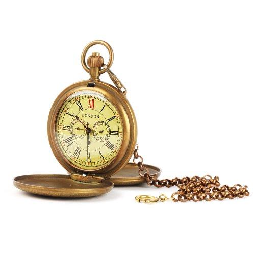 UNIQUEBELLA Retro Handaufzug mechanische Taschenuhr Skelett Uhr Antike Taschenuhr bronze 31