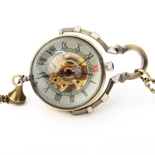 UNIQUEBELLA Retro Handaufzug mechanische Taschenuhr Skelett Uhr Antike Taschenuhr bronze 9