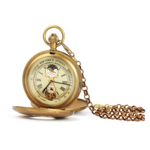 UNIQUEBELLA Retro Handaufzug mechanische Taschenuhr Skelett Uhr Antike Taschenuhr bronze 32