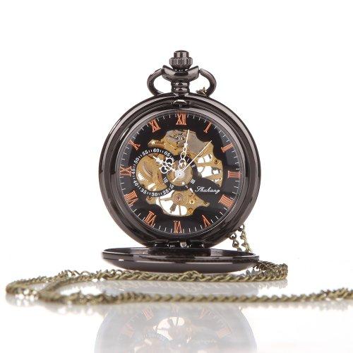 UNIQUEBELLA Retro Handaufzug mechanische Taschenuhr Skelett Uhr Antike Taschenuhr bronze 56
