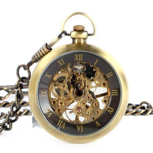 UNIQUEBELLA Retro Handaufzug mechanische Taschenuhr Skelett Uhr Antike Taschenuhr bronze 35