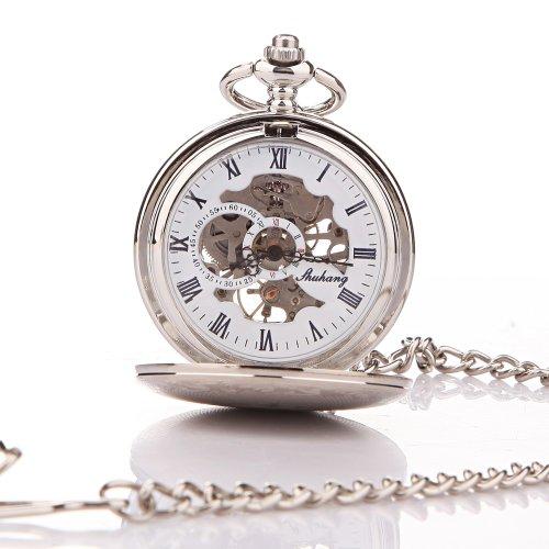 UNIQUEBELLA Retro Handaufzug mechanische Taschenuhr Skelett Uhr Antike Taschenuhr bronze 53
