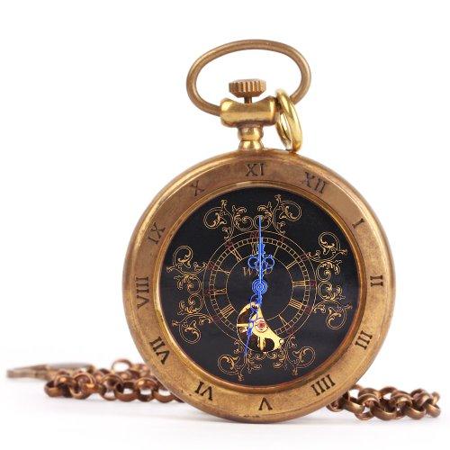 UNIQUEBELLA Retro Handaufzug mechanische Taschenuhr Skelett Uhr Antike Taschenuhr bronze 28
