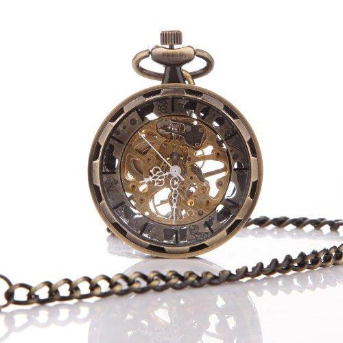 UNIQUEBELLA Retro Handaufzug mechanische Taschenuhr Skelett Uhr Antike Taschenuhr bronze 46