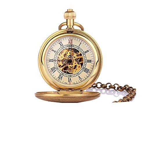 UNIQUEBELLA Retro Handaufzug mechanische Taschenuhr Skelett Uhr Antike Taschenuhr bronze 58
