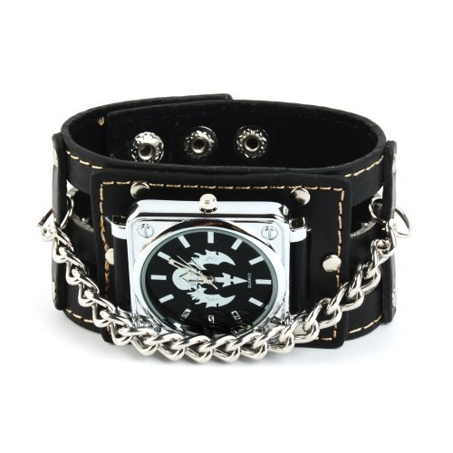 UNIQUEBELLA Analog Quarz Punk Rock Biker Totenkopf Sport Uhr mit Schwarz Breit Leder Armband gross Quadrat Zifferblatt