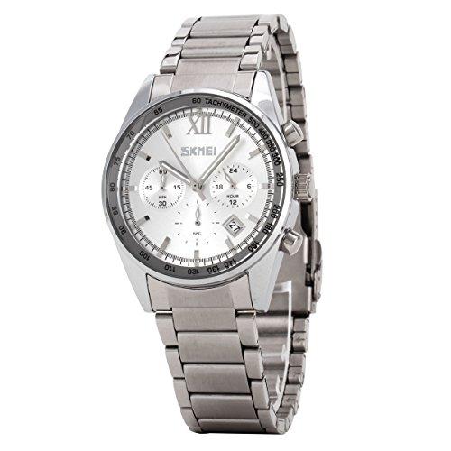 UNIQUEBELLA Mode 9096 Kalender Chronograph Quarzuhr Edestahl Wasserdicht Oberflaeche Weiss Armband Silber