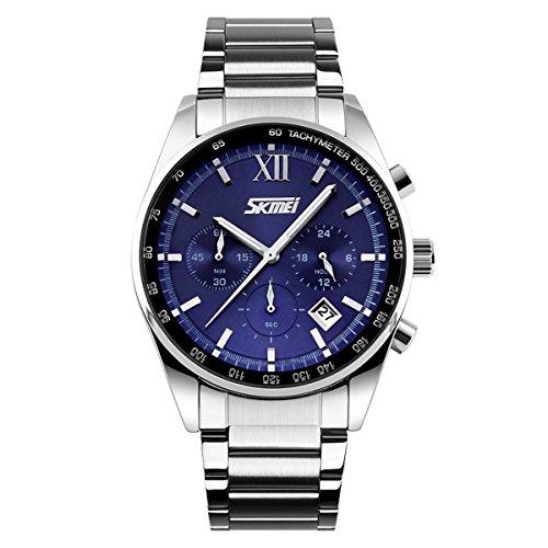 UNIQUEBELLA Mode 9096 Kalender Chronograph Quarzuhr Edestahl Wasserdicht Oberflaeche Blau Armband Silber