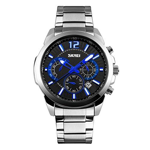 UNIQUEBELLA Mode Geschaeft 9108 Kalender Chronograph Quarzuhr Edestahl Wasserdicht Oberflaeche Schwarz Armband Silber