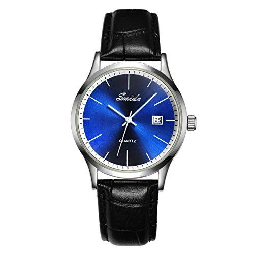 UNIQUEBELLA Mode Kalender Analog Quarzuhr Leder 026 Oberflaeche Blau Armband Schwarz