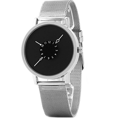 UNIQUEBELLA Herren Damen Frauen Quarz Edelstahl analoge Mesh Band Armbanduhr Armband Uhr Geschenk Watch Gift 4