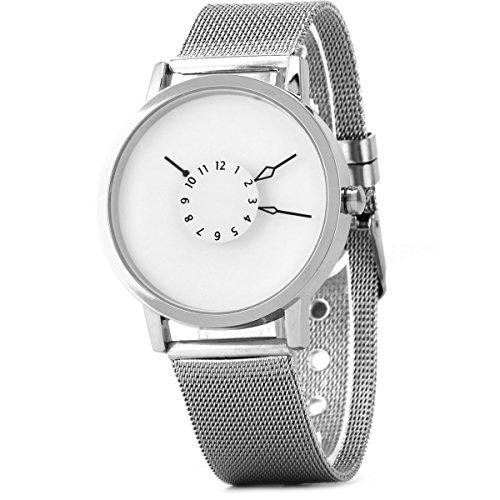 UNIQUEBELLA Herren Damen Frauen Quarz Edelstahl analogeMesh Band Armbanduhr Armband Uhr Geschenk Watch Gift 3