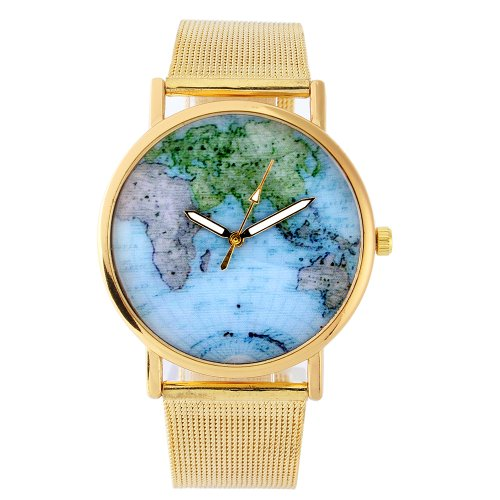 UNIQUEBELLA Mode Quarz Analog Uhr Quarzuhr Armbanduhr mit Mesh band Weltkarte Muster Fashion Watch Weihnachten Geschenk Xmas Gift