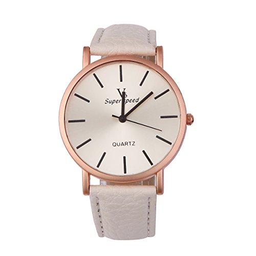 UNIQUEBELLA Mode Quarz Analog Uhr Quarzuhr Armbanduhr mit Leder band Fashion Watch Weiihnachten GEschenk Xmas Gift