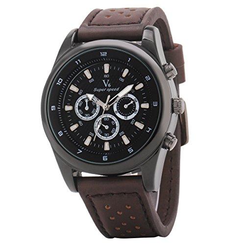 UNIQUEBELLA 3D Militaer Dial Lederband Sportuhr Analog Quartzuhr Armbanduhr Wristwatch Weiss Braun